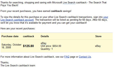 Cashback From EBay