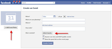 create facebook event page
